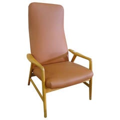 Alf Svensson Armchair with Adjustable Back in Beech and Leather