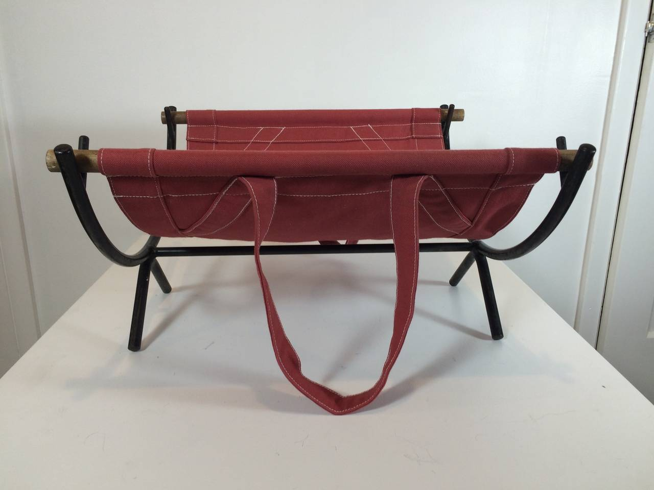 1951 George Nelson Log Rack with Canvas Carrier 4