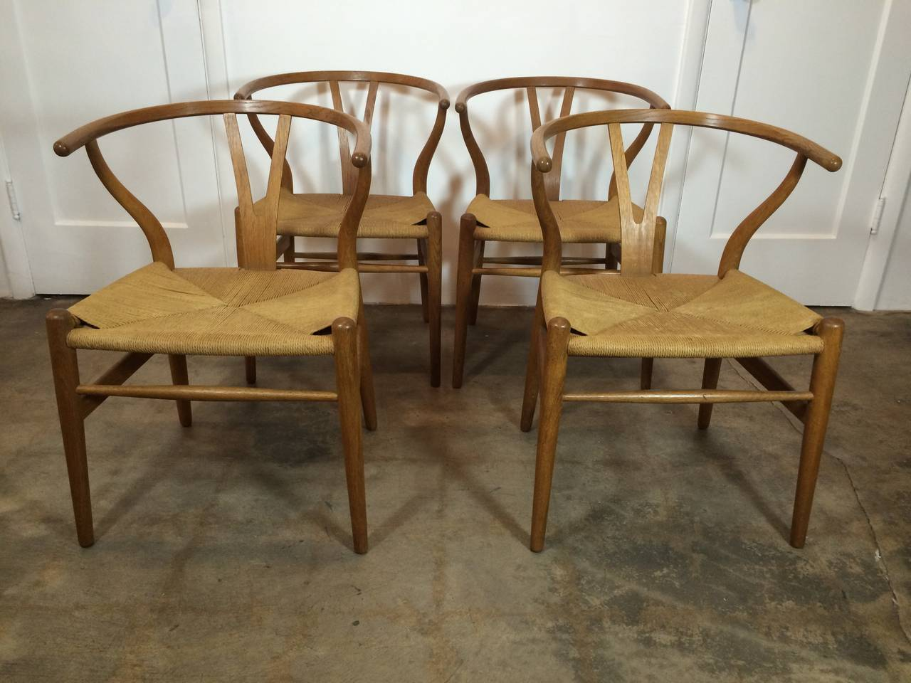 Set of Four Early Production Wishbone Chairs by Hans Wegner 3
