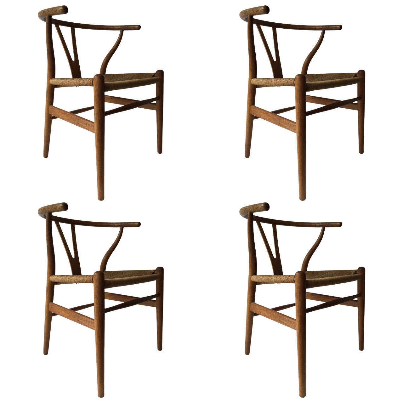 Set of Four Early Production Wishbone Chairs by Hans Wegner For Sale