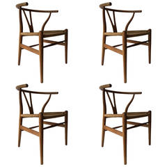 Set of Four Early Production Wishbone Chairs by Hans Wegner