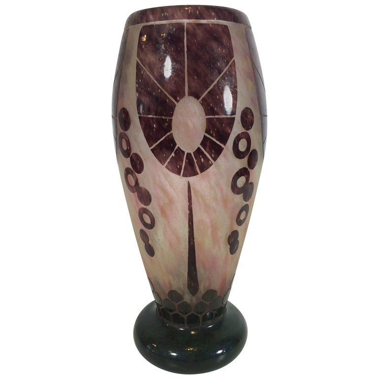 Charles Schneider Le Verre Relief and Etched Art Deco Vase, 1920s For Sale