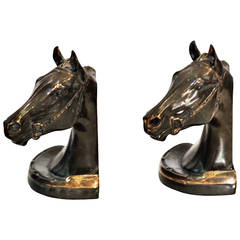 Pair of Early 20th Century Bronze Horse Bookends