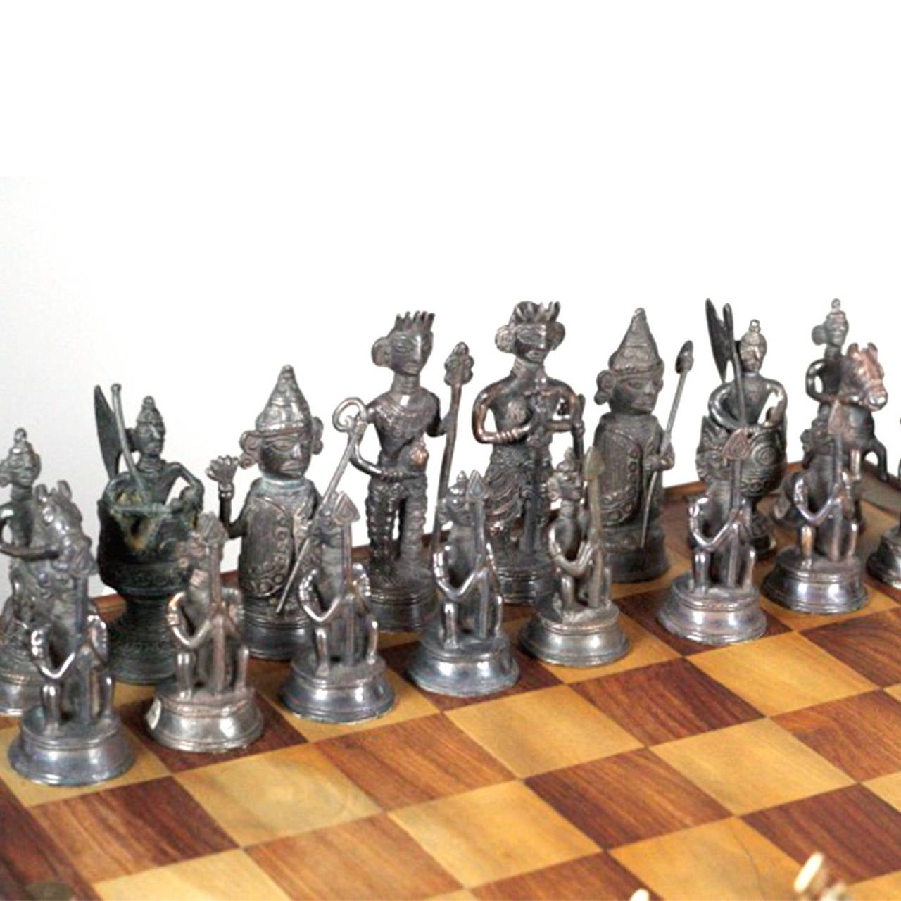 Steel Chess Set Midcentury Indian Chess Set With Solid Brass Chess Pieces At 1Stdibs