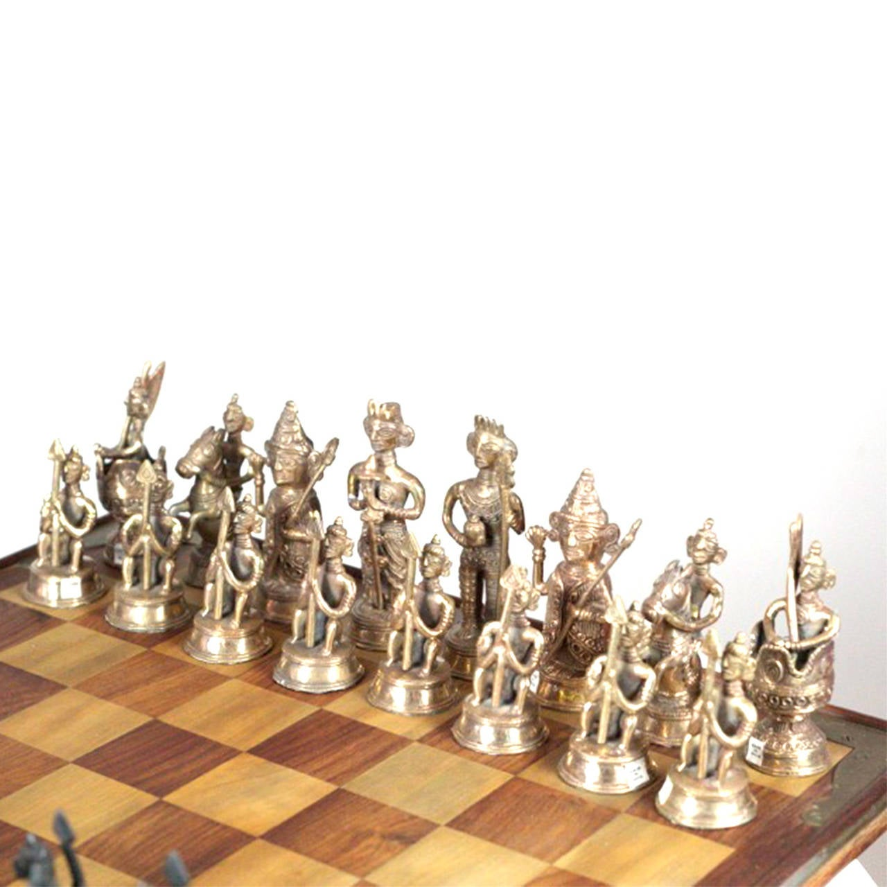 Midcentury Indian Chess Set With Solid Brass Chess Pieces