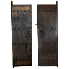 Late 19th c. Studded Elmood and Cast Iron Chinese Garden Gate Doors c. 1860-1890