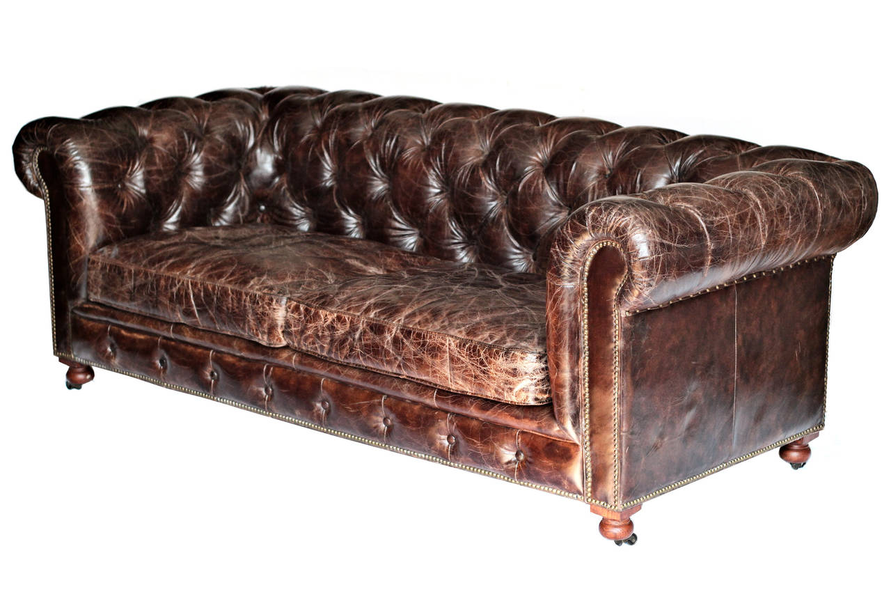 custom leather chesterfield sofa at 1stdibs