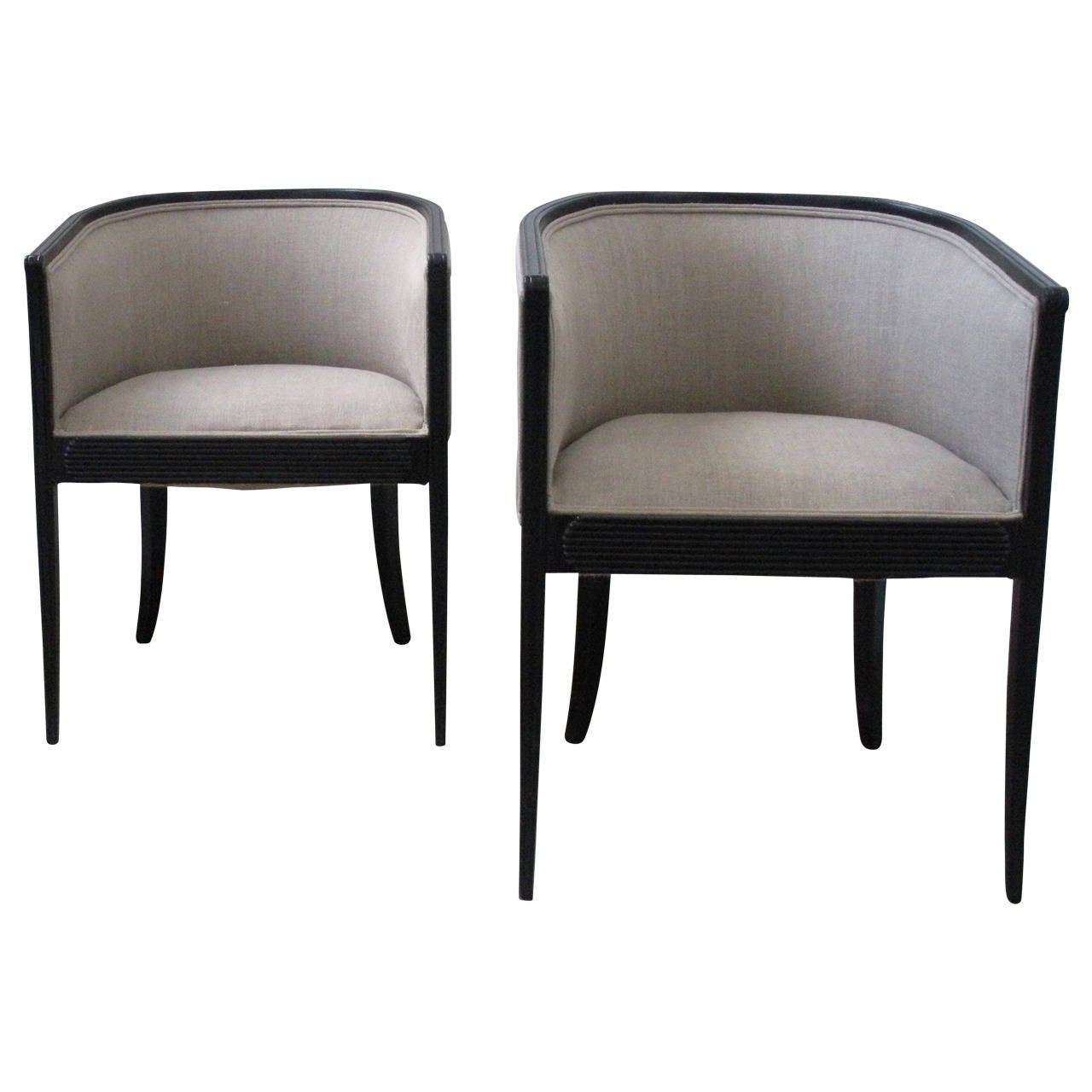 Beau Pair Of French Art Deco Tub Chairs For Sale