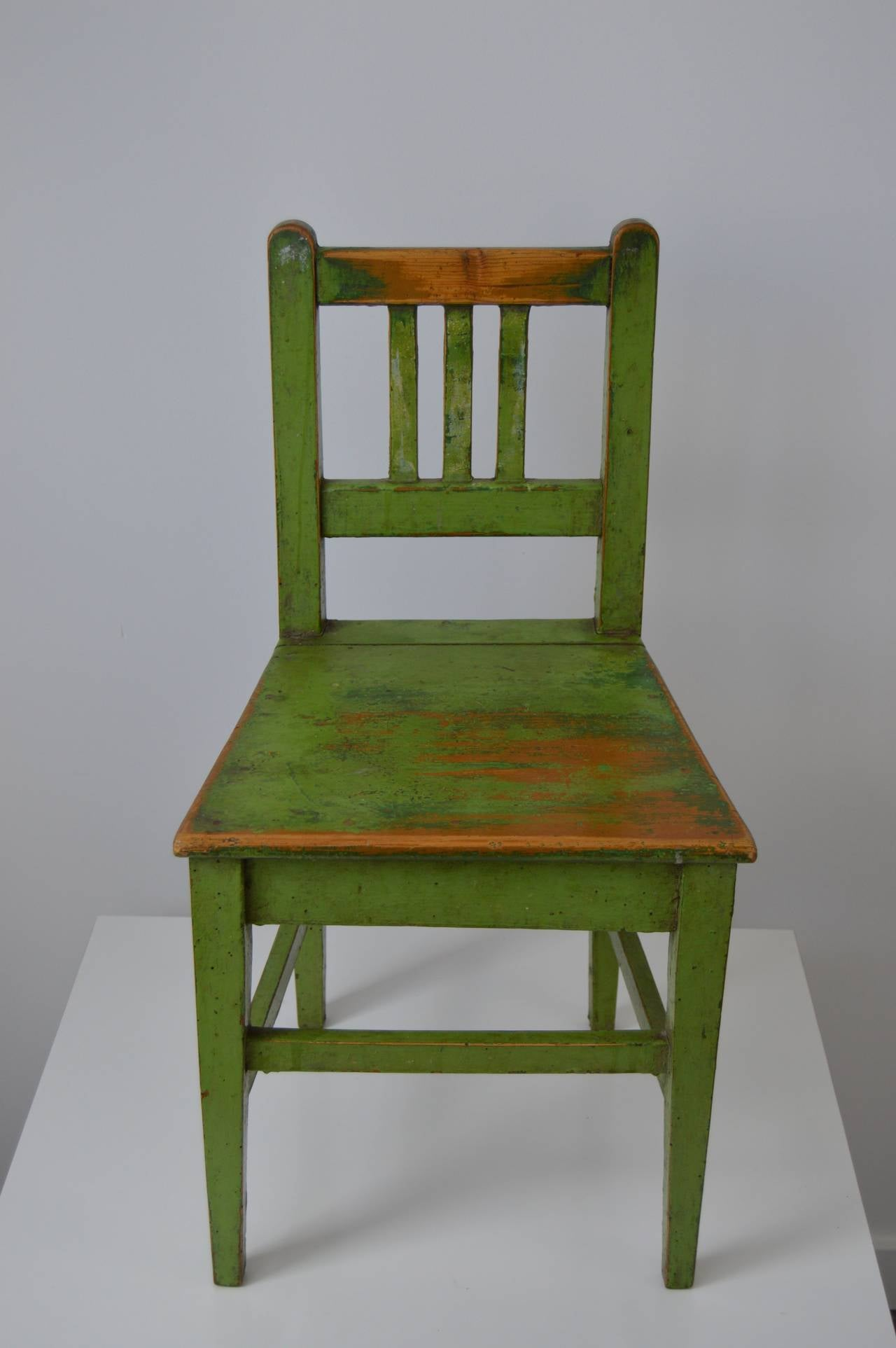 Pair Of School Chairs With Original Green Paint 1940s For