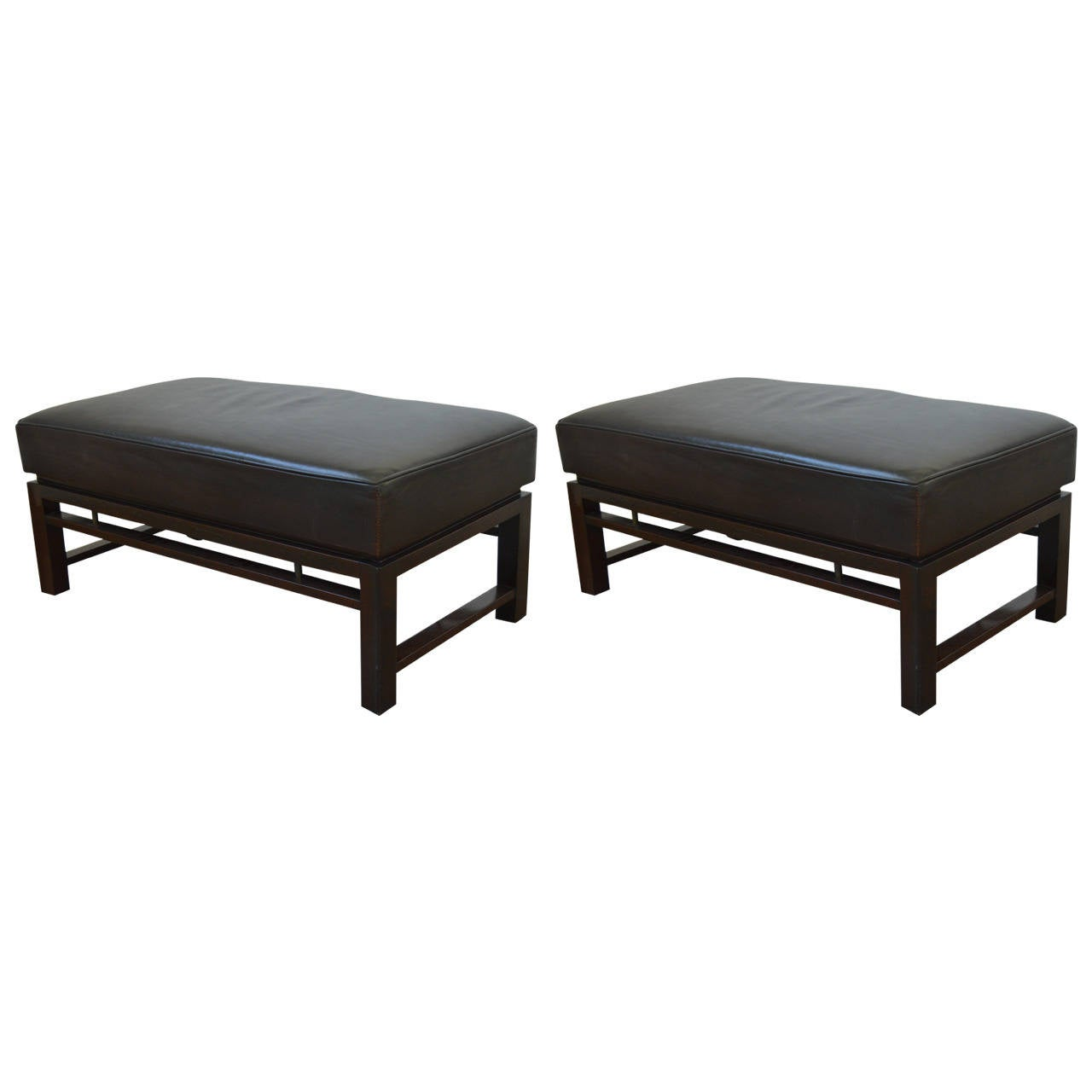 pair of rectangular leather benches edward wormley for dunbar  - pair of rectangular leather benches edward wormley for dunbar s