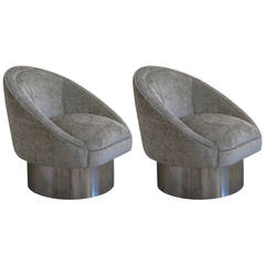 Pair of 360 Degree Swivel Chairs with Polished Steel, Leon Rosen for Pace