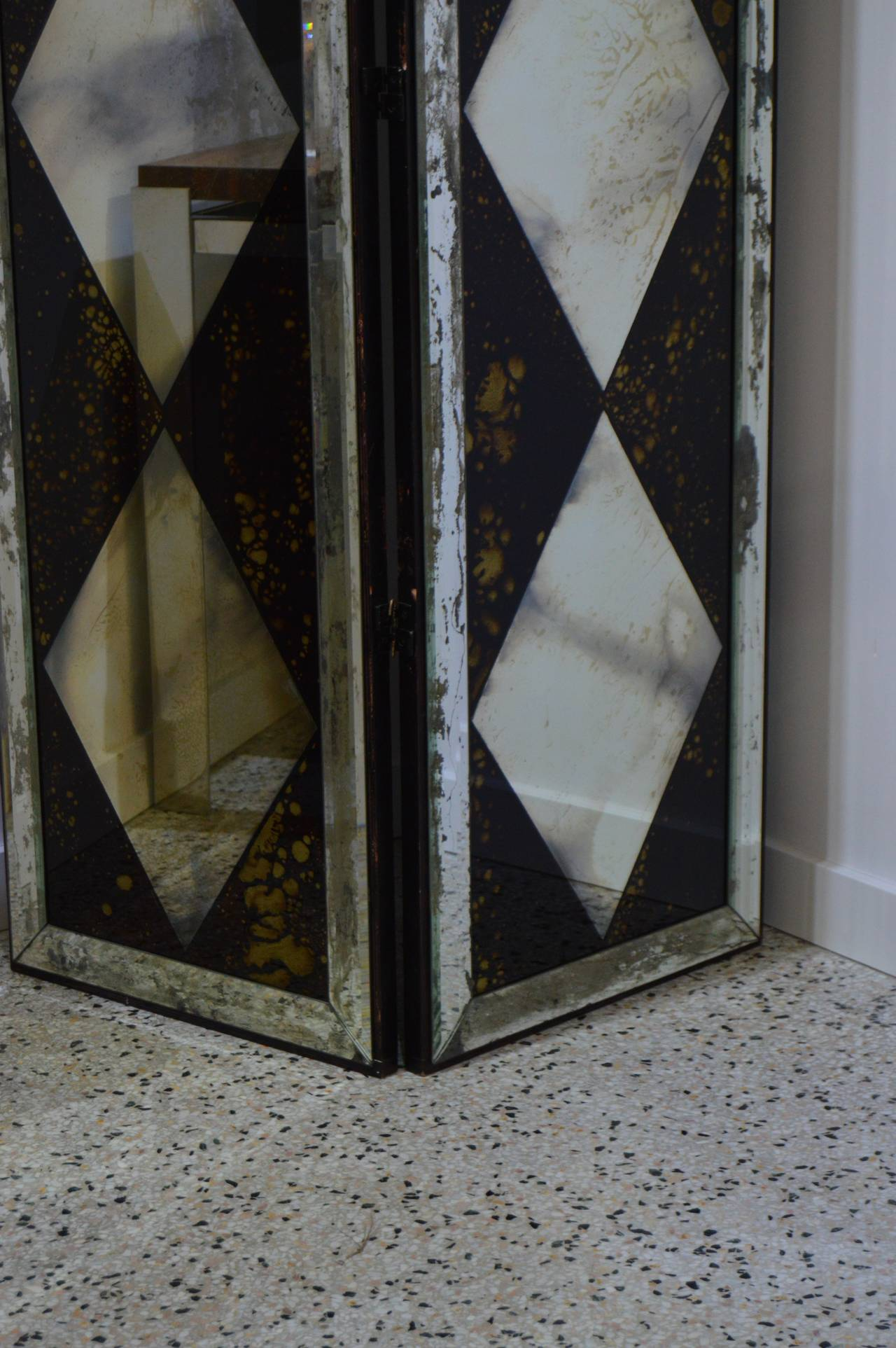 Pair Of Dorothy Draper Style Eglomise Mirrored Two Panel