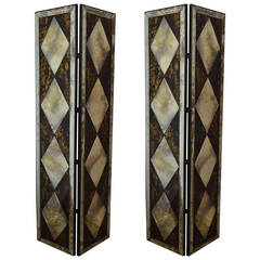 Pair of Dorothy Draper Style Eglomise-Mirrored Two-Panel Folding Screens