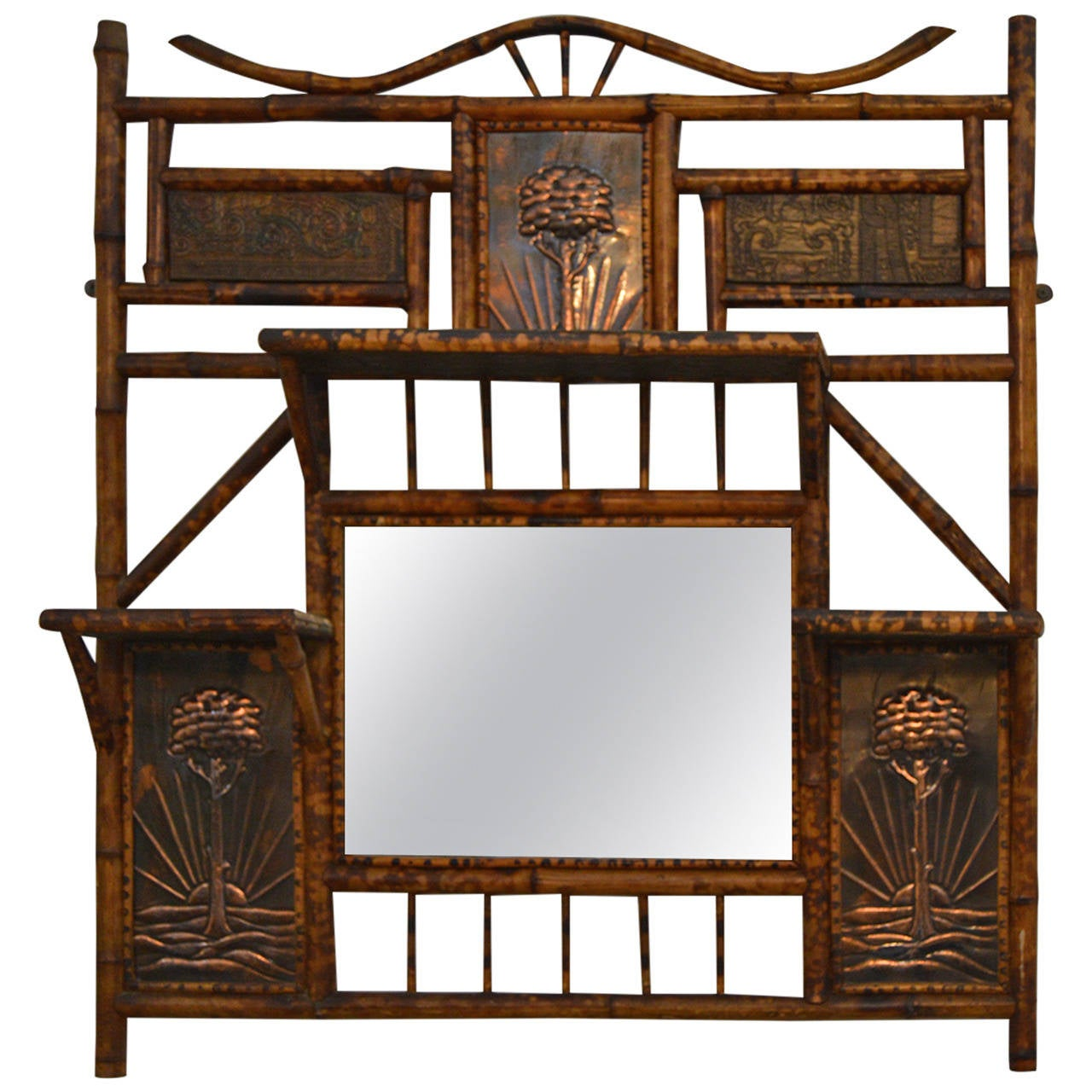 Antique english tortise bamboo mirror and shelf with for Antique furniture and decoration accessories