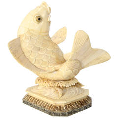 Antique Asian Carved-Bone Sculpture of a Koi:  1930s