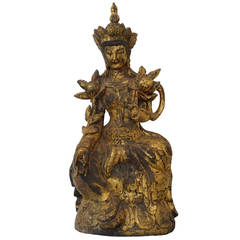 Sino-Tibetan Buddha of Carved Wood with a Gold Leaf Finish:  19th Century