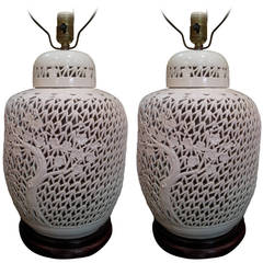 Pair of Pierced Blanc de Chine Lidded Ginger Jar Lamps:  Vintage 1930's