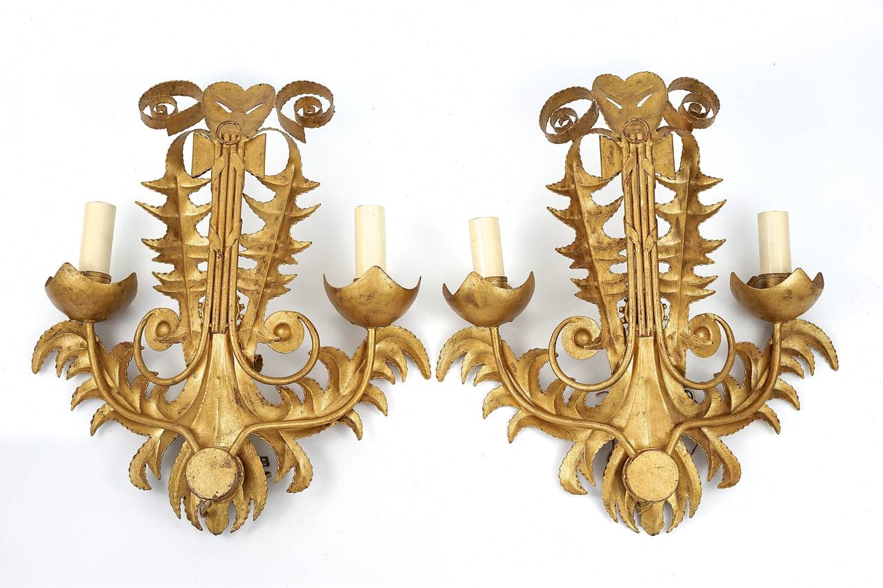 Pair of Large-Scale, Gold-Bronze Finish, Art Deco-Style, Two-Light Wall Sconces For Sale at 1stdibs