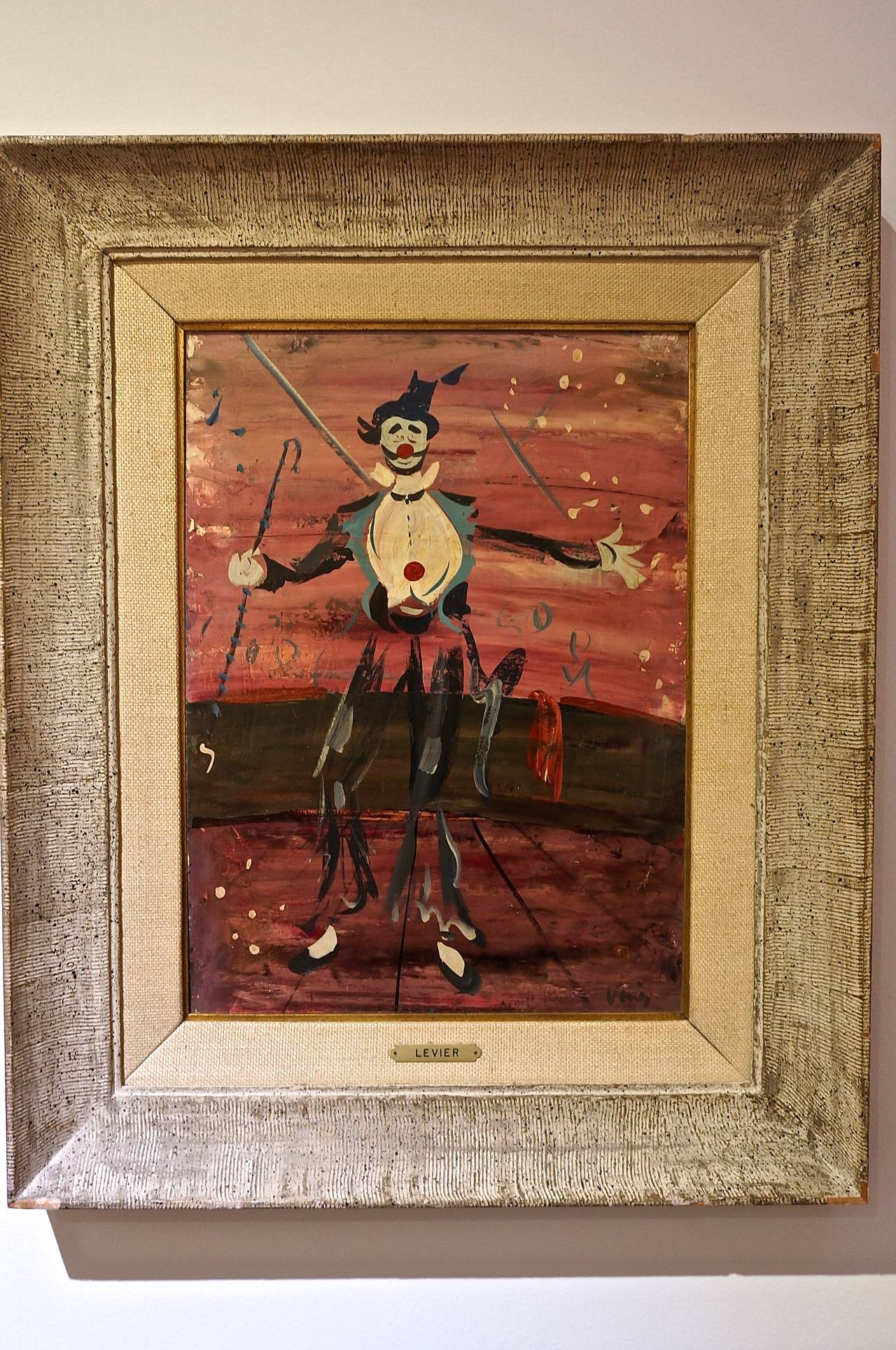 Glass Mid-Century Oil Painting by Iconic French Painter Charles Levier For Sale