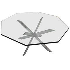 Iconic Double X-Base Chrome and Glass Cocktail Table by Leon Rosen for Pace