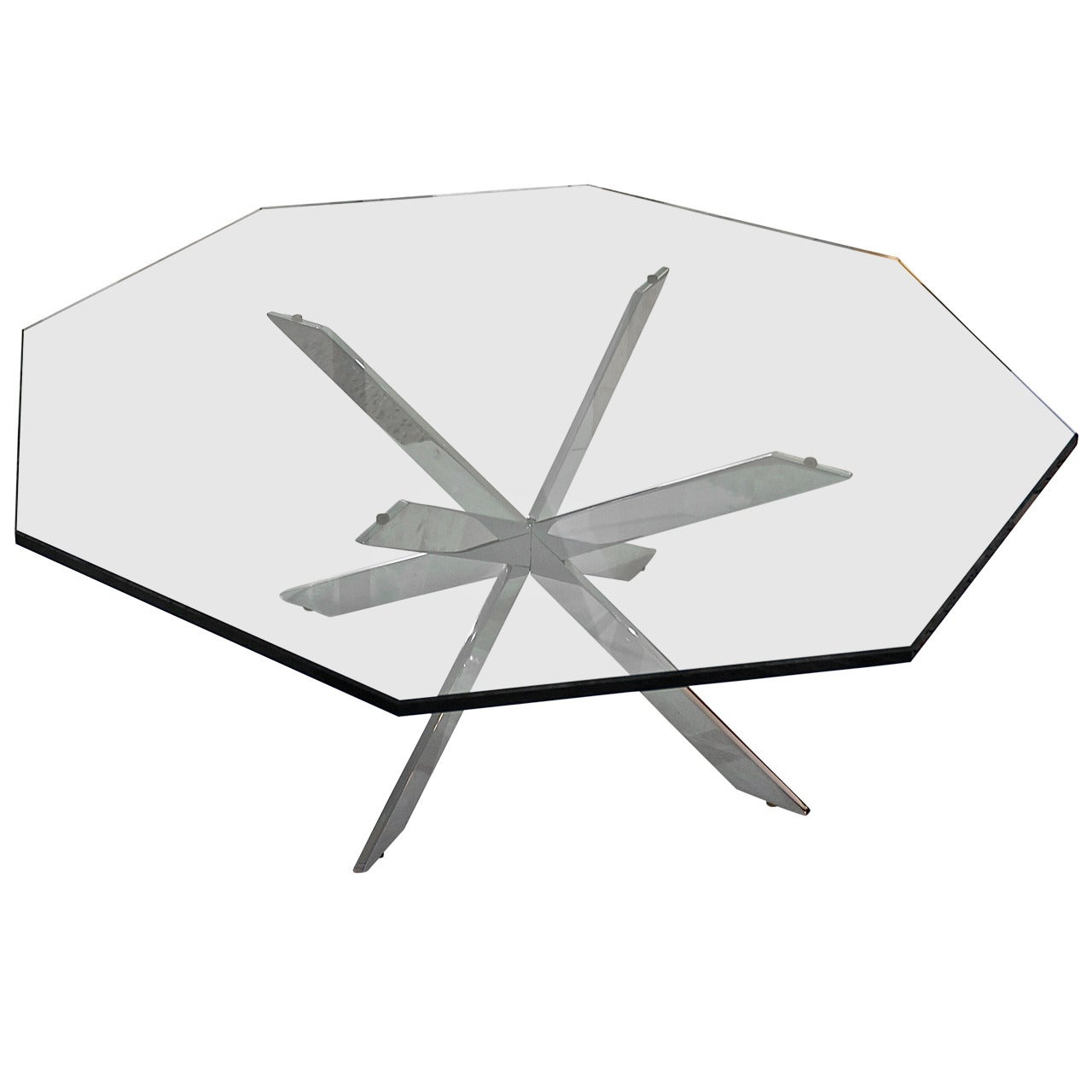 Double X-Base Chrome and Glass Cocktail Table by Leon Rosen for Pace