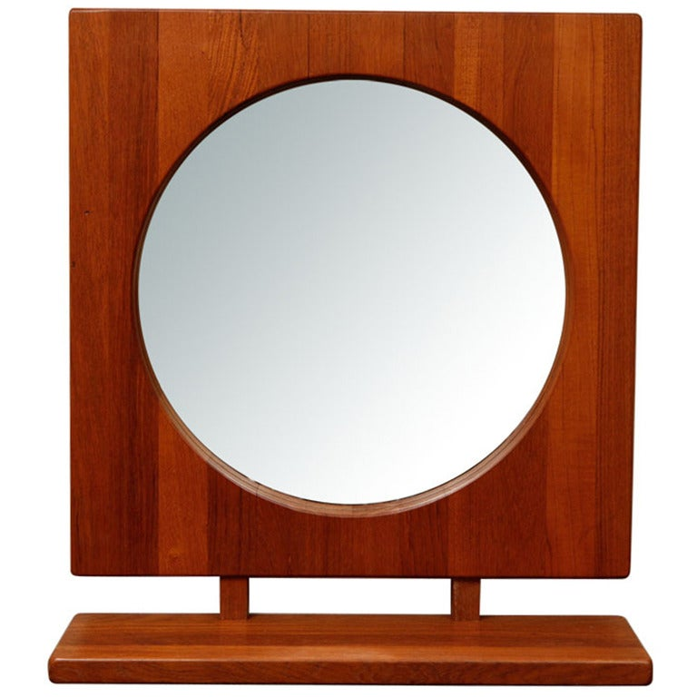 Danish teak table or wall mirror with shelf pedersen and for Wall table with mirror