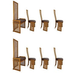 Set of Eight Dining Chairs with French-Caning, Vivai del Sud for Casa Bella