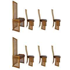 Set of Eight Dining Chairs with French-Caning, Casa Bella, Danny Ho-Fong Style