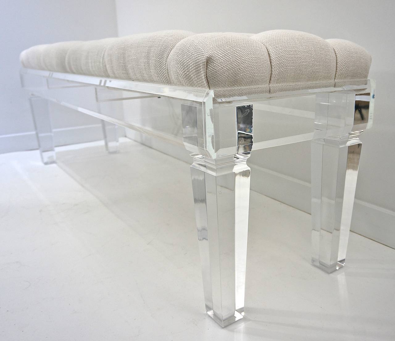 Bespoke Contemporary Acrylic Bench With Button Tuffted Upholstery At 1stdibs