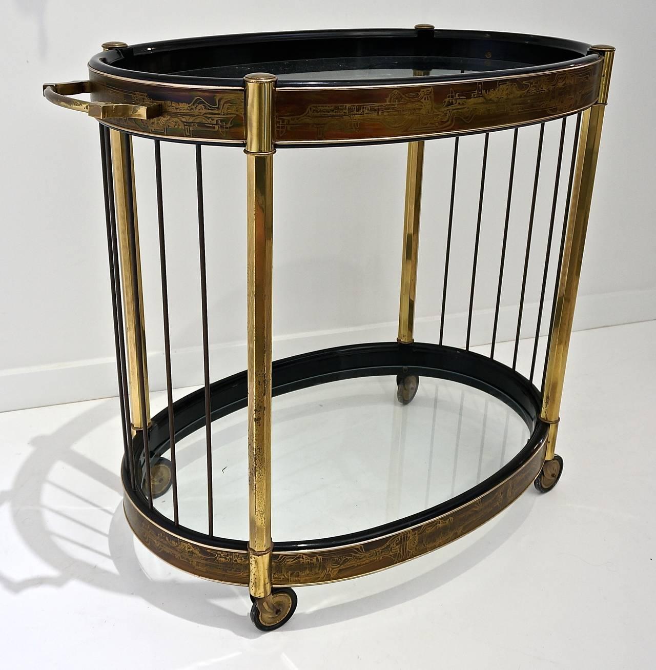 mid century oval brass bar cart or trolley bernard rohne. Black Bedroom Furniture Sets. Home Design Ideas