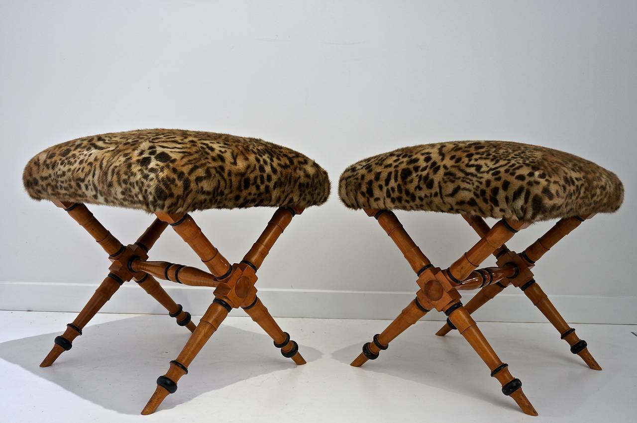 Pair of Vintage Biedermeier Style X-Stools with Faux Fur Upholstery 2