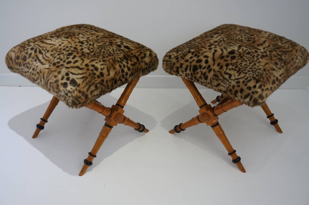 Pair of Vintage Biedermeier Style X-Stools with Faux Fur Upholstery 3
