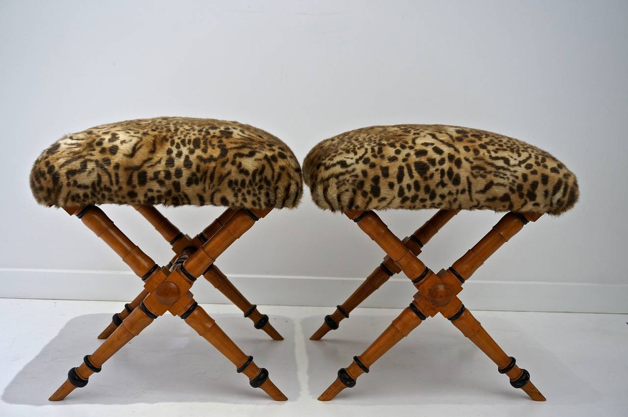 Pair of Vintage Biedermeier Style X-Stools with Faux Fur Upholstery 4