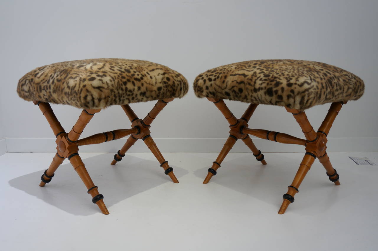 Pair of Vintage Biedermeier Style X-Stools with Faux Fur Upholstery 10