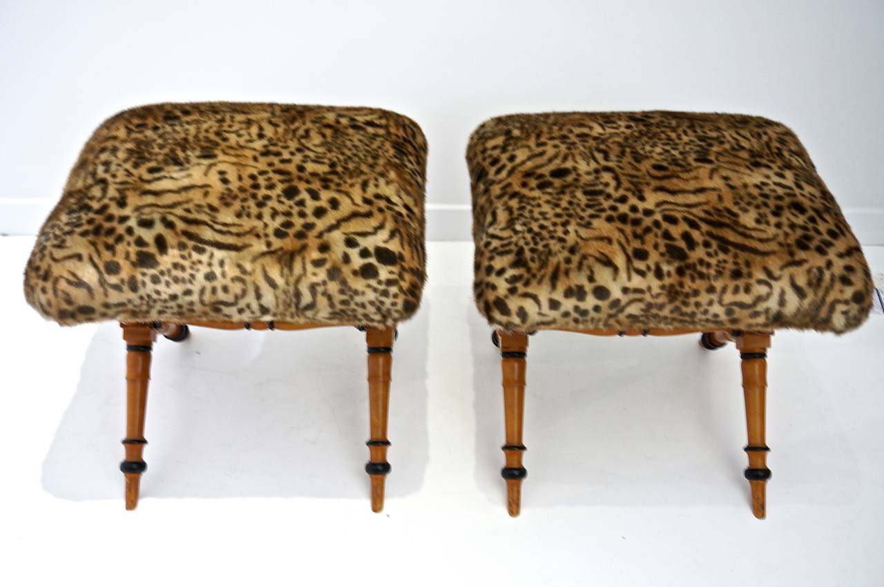Pair of Vintage Biedermeier Style X-Stools with Faux Fur Upholstery 5