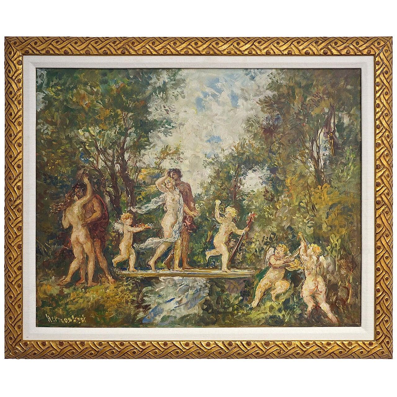 """""""The Garden"""" oil on canvas:  Herman Lipot 20th Century"""