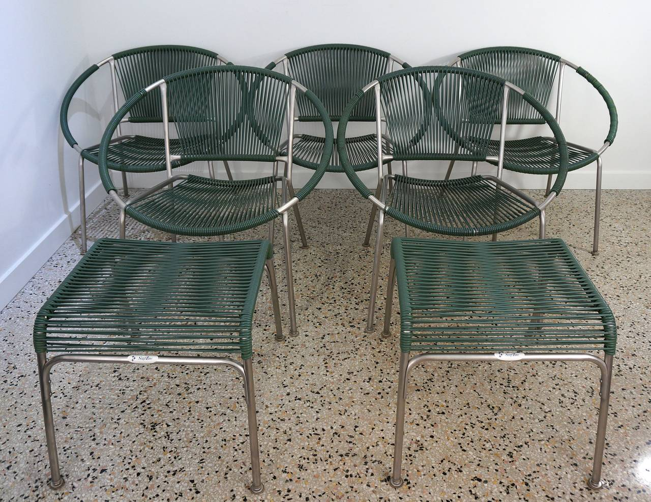Set Of Five Mid Century Patio Chairs With Two Ottoman Surf Line
