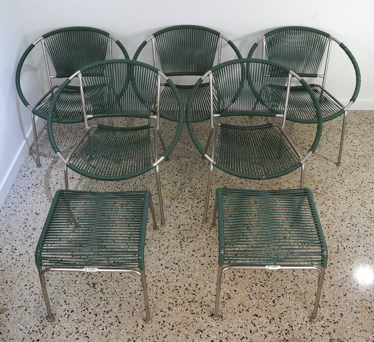 Set Of Five Mid Century Patio Chairs With Two Ottoman