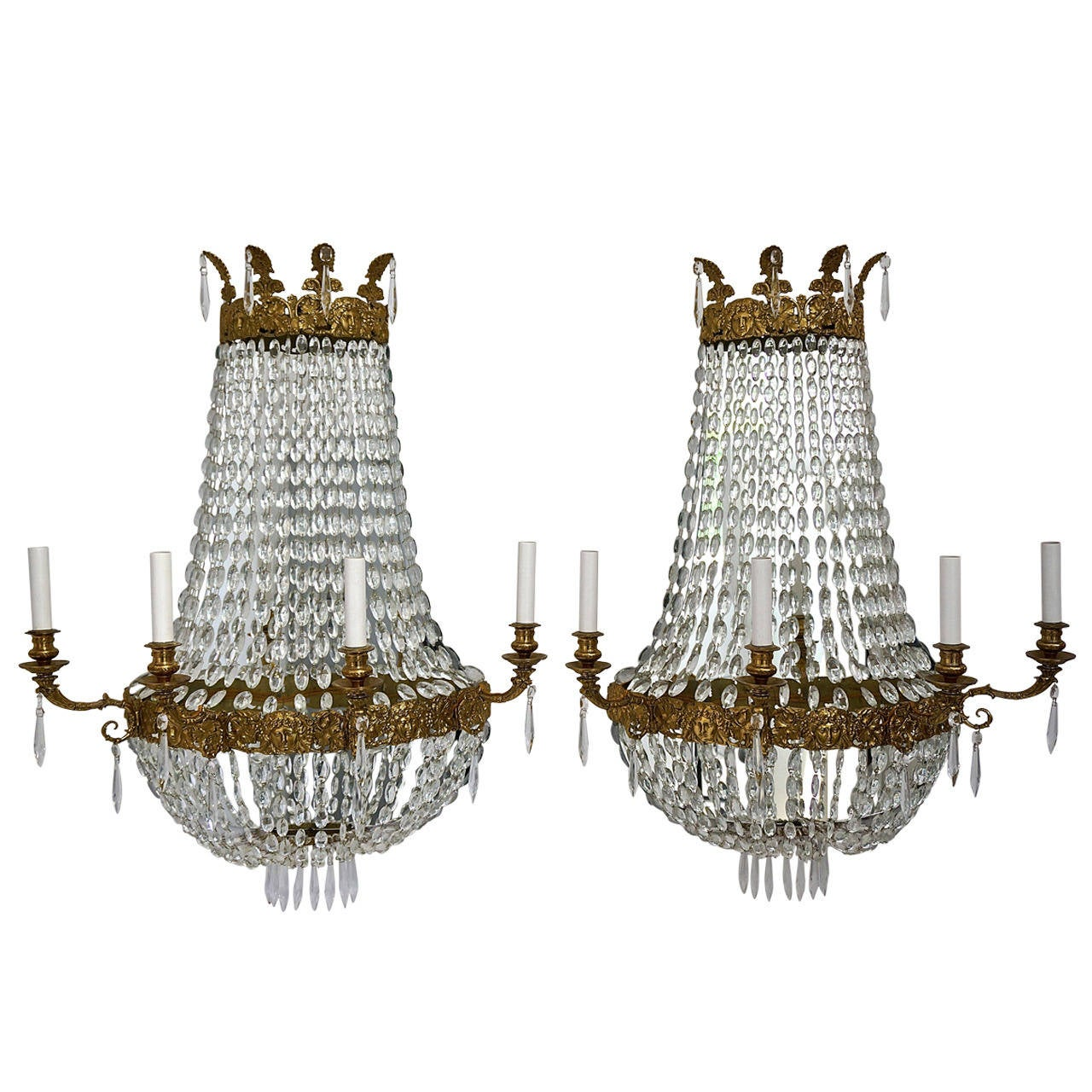 Pair of large french empire style four light wall sconces with pair of large french empire style four light wall sconces with mirrored backs for aloadofball Images