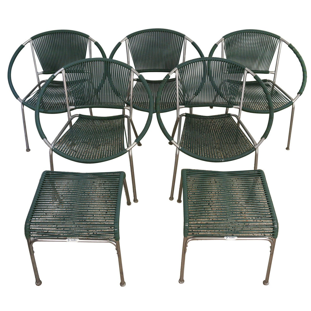 Set Of Five Mid Century Patio Chairs With Two Ottoman  Part 44