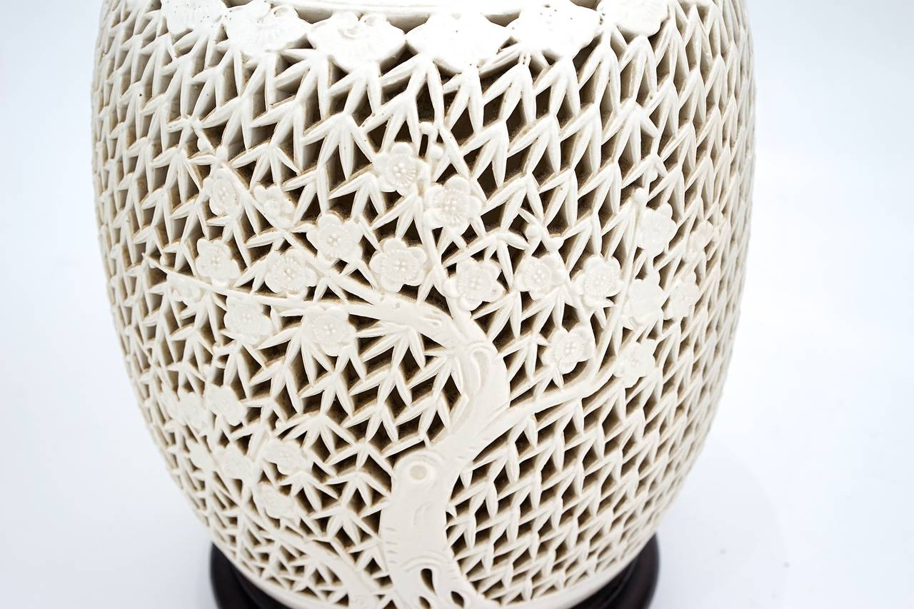 Pair Of Pierced Blanc De Chine Lidded Ginger Jar Lamps