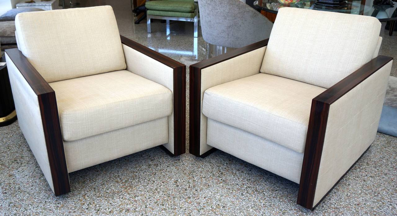 Pair Of Jean Michel Frank Art Deco Style Club Chairs In