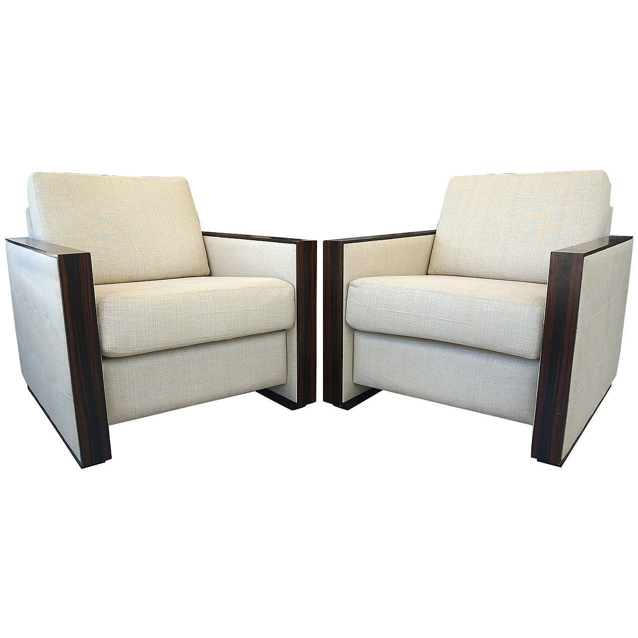 Pair Of Jeanmichel Frank, Art Deco Style , Club Chairs In Zebra Wood