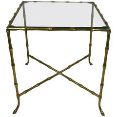Hollywood Regency Style Brass Faux Bamboo Table:  Attributed to Bagues