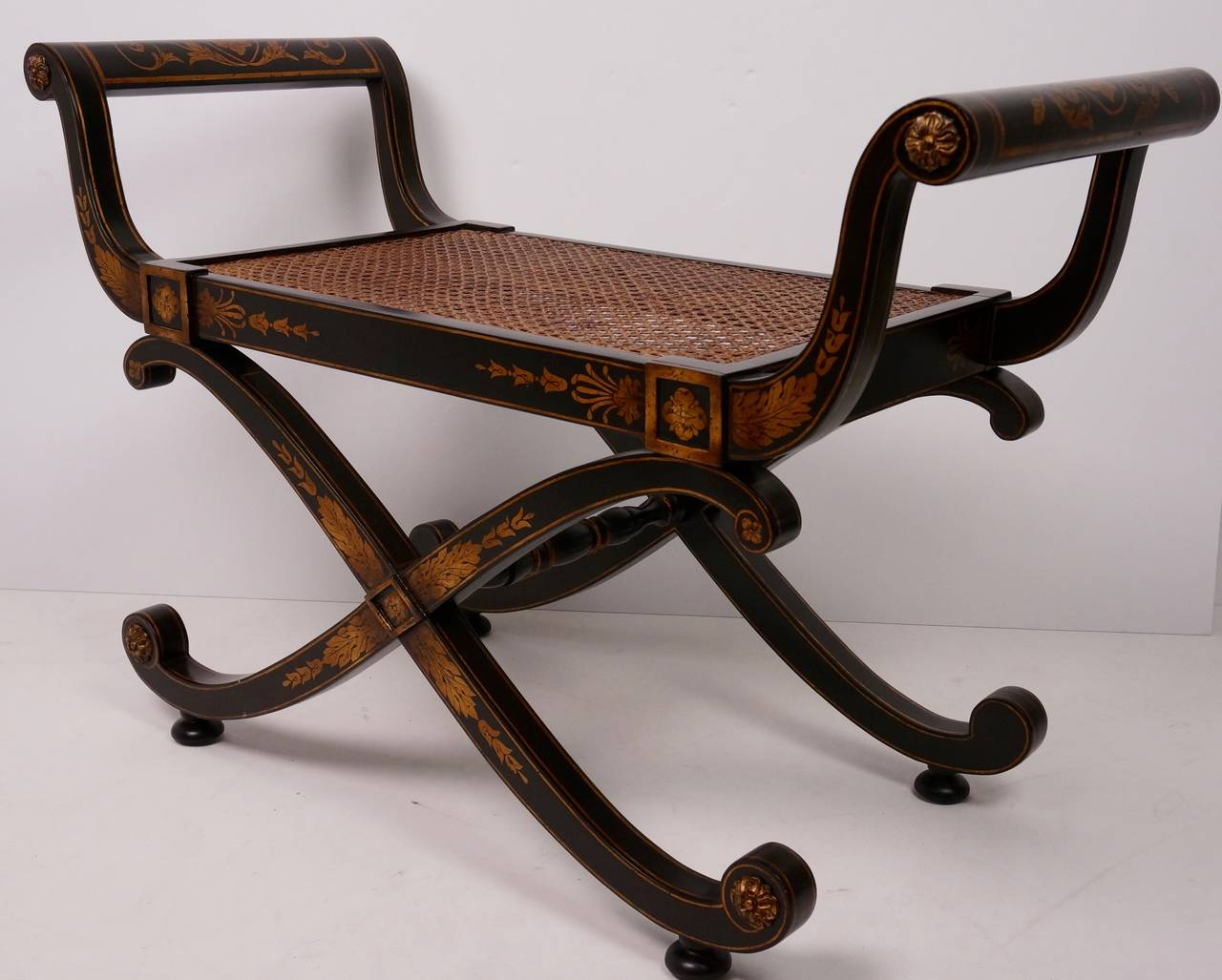 English Regency Style X-Bench with French Caning: John-Richards at 1stdibs