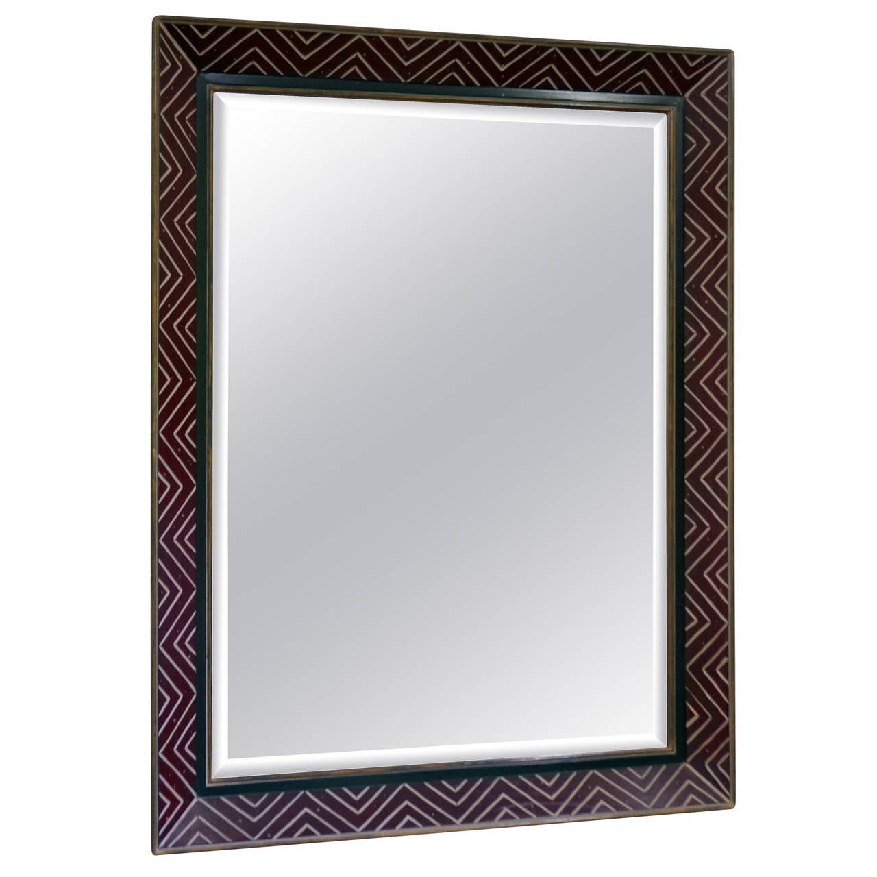Art Deco Egyptian Revival Style Wall Mirror With Incised