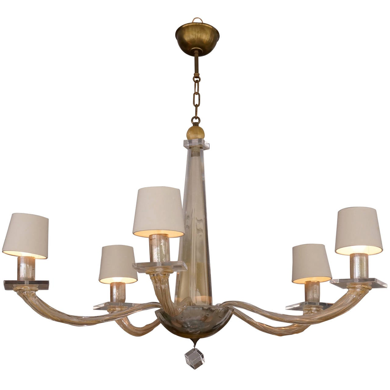 Five Light Murano Glass Chandelier By Angelo Donghia