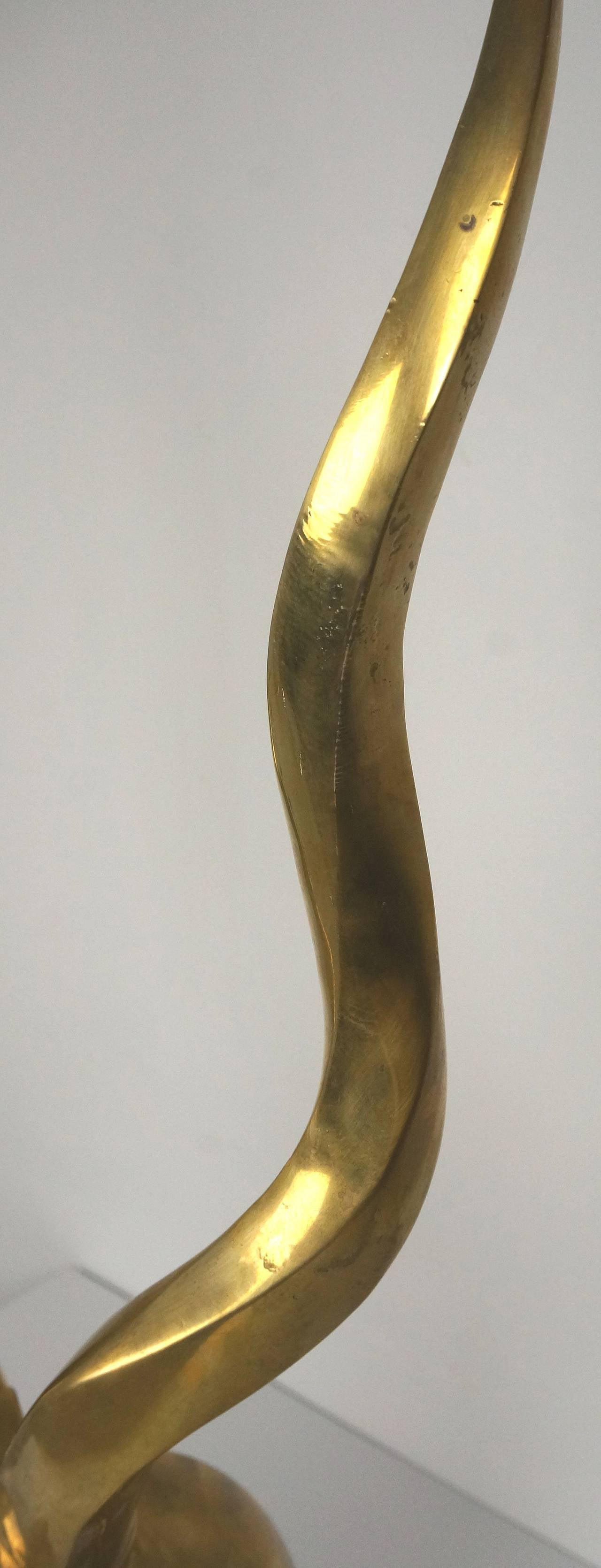 Art Deco Style Sculpture of a Gazelle / Antelope in Cast Brass, Mid-Century For Sale 4