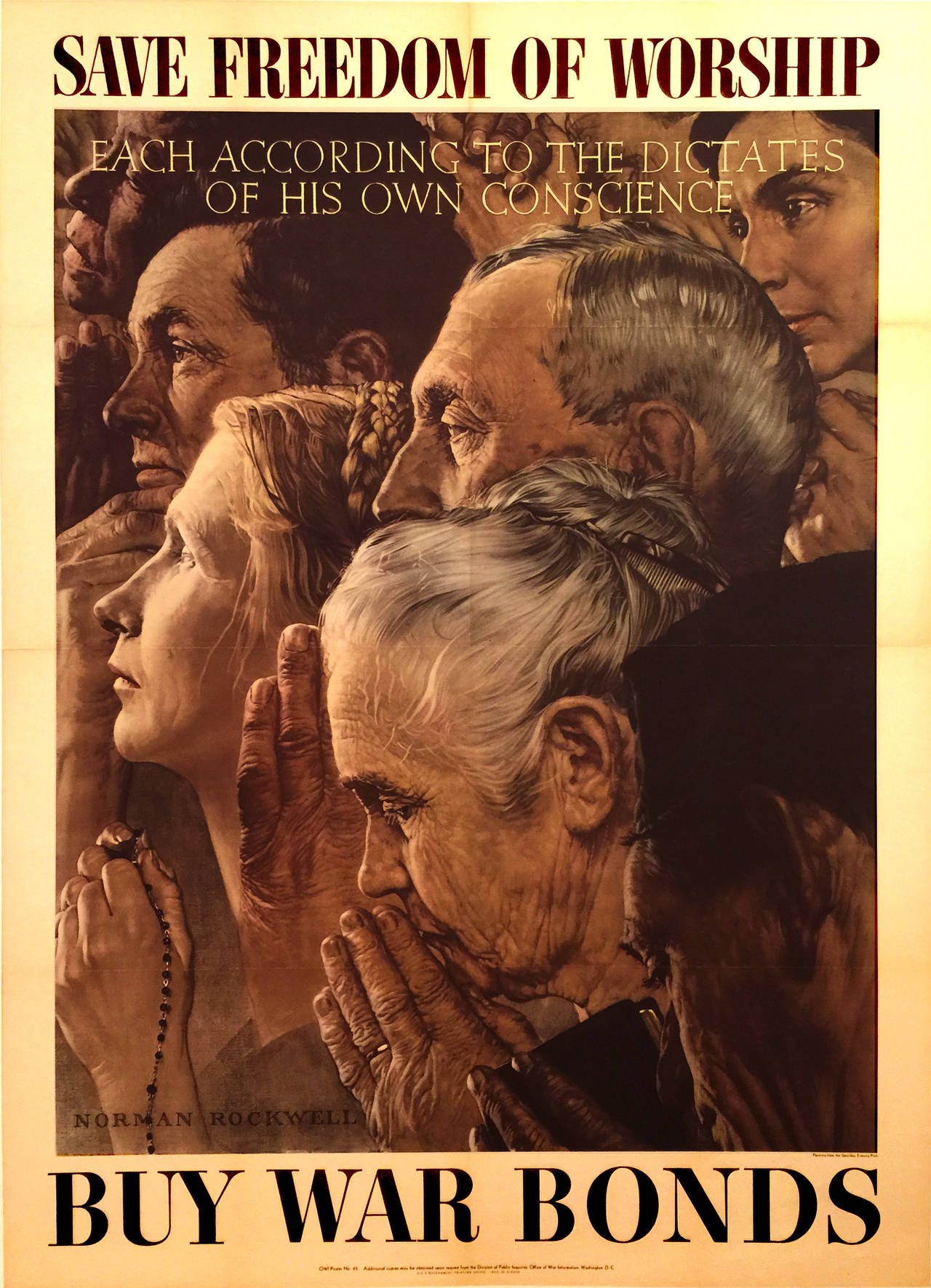 Complete Set of Four Freedoms Posters by Norman Rockwell, 1943 at ...