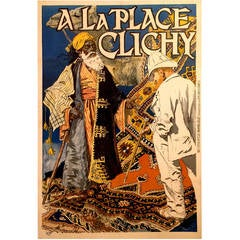 "Extremely Rare Belle Époque Period French Poster for ""A La Place Clichy,"" 1891"